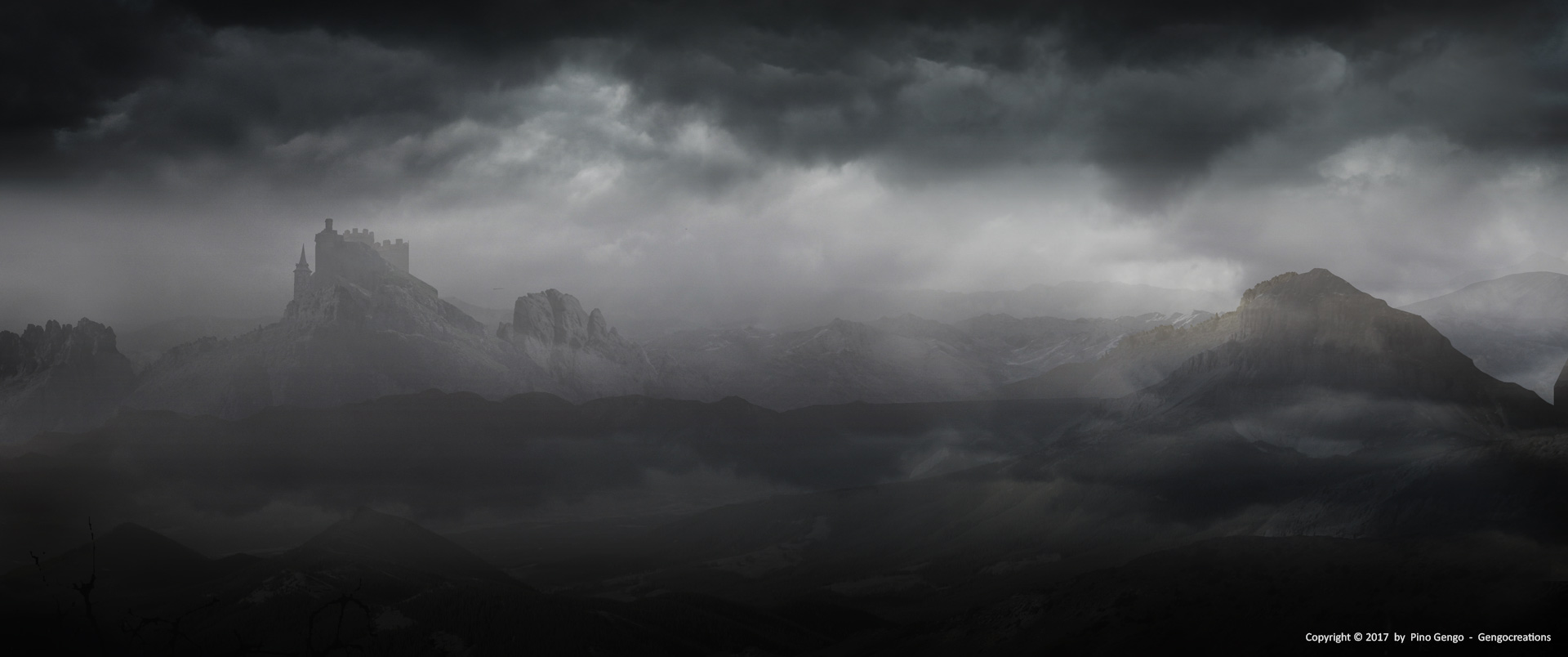 Pino Gengo: Dark Landscape - Matte Painting